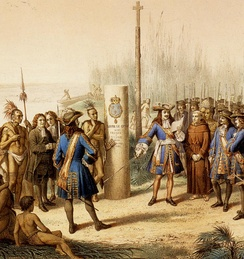 Taking up of the Louisiana by La Salle in the name of the   Kingdom of France