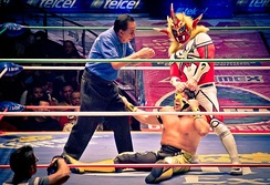 Liger tearing at Último Guerrero's mask during a CMLL match