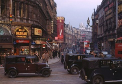 View of Shaftesbury Avenue from Piccadilly Circus with the London Pavilion on the right, circa 1949