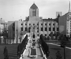 Walkway and front façade of Los Angeles Public Library's Central Library, circa 1935