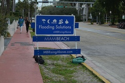 Sign near a project to raise the elevation of a roadway in South Beach.