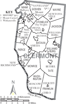 Map of Clermont County, Ohio With Municipal and Township Labels