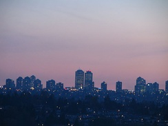 Metrotown at sunset, as seen from Lochdale