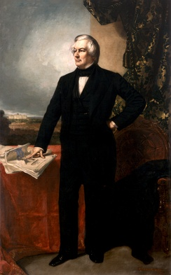Official White House Portrait of Fillmore, standing and looking to his right