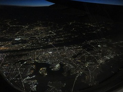 Aerial view of the Bronx from the east at night