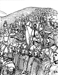 Þorgnýr the Lawspeaker showing the power of his office to the King of Sweden at Gamla Uppsala, 1018. The lawspeaker forced King Olof Skötkonung not only to accept peace with his enemy, King Olaf the Stout of Norway, but also to give his daughter to him in marriage. Illustration by C. Krogh.