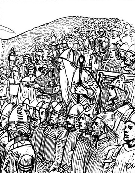Torgny the Lawspeaker showing the power of his office to the king of Sweden at Gamla Uppsala, 1018. The lawspeaker forced king Olof Skötkonung not only to accept peace with his enemy, king Olaf the Stout of Norway, but also to give his daughter to him in marriage. Illustration by C. Krogh.