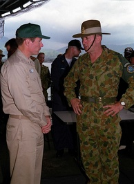 Major General Peter Cosgrove (right) Australian commander of the United Nations backed peace keeping operation (INTERFET) to East Timor.