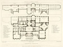 Plan showing the main floor and the suite of reception rooms on the lower ground floor