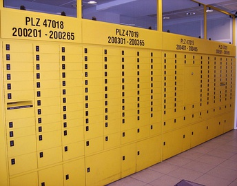 P. O. box racks in a German post office of the Duisburg post code area. The top number is the postal code (PLZ=Postleitzahl) for the individual rack.