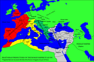 "The ""Praetorian Prefecture of Italy"" (in yellow) stretched from the Danube river to North Africa"