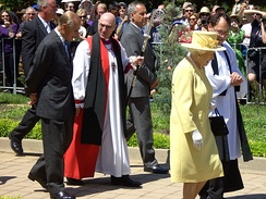 The Queen and Prince Philip attending an Anglican service in Canberra
