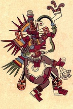 The zoomorphic feathered serpent deity (Kukulkan, Quetzalcoatl).