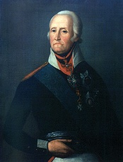 Painting of a dark-eyed man with the corners of his mouth turned down. He appears to be wearing a powdered wig. He wears a dark military uniform with a white collar and a blue sash over his right shoulder, plus several military awards.