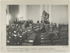 Parliament is convening for the first time after the war. White and German soldiers dominate the picture while only one person from the opposition social democrats is present. Thus, it was sarcastically called a Rump Parliament.