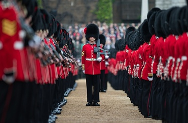 A sergeant of the Coldstream Guards addressing through the ranks during the rehearsal for the Trooping the Colour ceremony