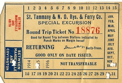 Round-trip trolley ticket on the St. Tammany and New Orleans Railways and Ferry Co., punched to be good on the transit line between Mandeville and Covington, Louisiana, for the date of December 30, 1915