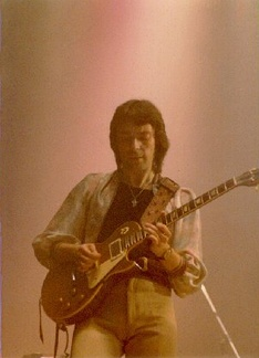 Hackett in January 1977 on the Wind & Wuthering tour, the last before his departure