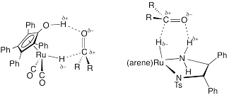 The transition state of two transfer-hydrogenation reactions from ruthenium-hydride complexes onto carbonyls