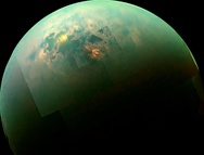 A view beneath the clouds of Titan, as seen in false colour, created from a mosaic of images taken by Cassini (2013)
