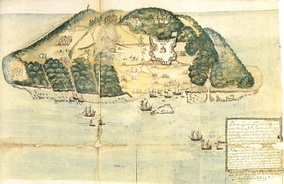 A drawing of Tortuga island from the 17th century.