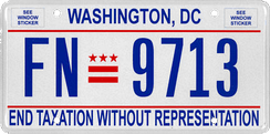 A 2017 license plate for Washington, D.C.