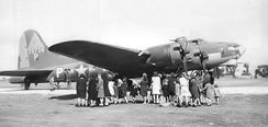 "Boeing YB-40 Flying Fortress, 42-5736 (""Tampa Tornado"") on display at RAF Kimbolton, England, 2 October 1943 when it was shown to those attending a party for local children."