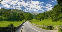 The A591 road as it passes through the countryside between Ambleside and Grasmere