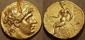 Gold stater of the Seleucid king Antiochus I Soter (reigned 281–261 BCE) showing on the reverse a nude Apollo holding his key attributes: two arrows and a bow
