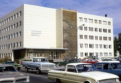 Anchorage Community Hospital as it appeared in August 1972. The building is called the Arne Beltz Building and houses the municipal health department.