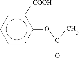 Chemical structure of acetylsalicylic acid, more commonly known as Aspirin.
