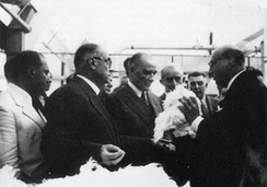 Atatürk (centre) accompanied by Bayar (to his left) and İnönü (to his right) at the Sümerbank Textile Factory in Nazilli, 9 October 1937.
