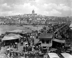 View of Galata (Karaköy) and the Galata Bridge on the Golden Horn, c. 1880–1893