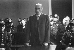 Catholic politician Eugen Bolz at the People's Court. Staatspräsident of Württemberg in 1933, he was overthrown by the Nazis. Later arrested for his role in the 20 July Plot to overthrow Hitler, he was beheaded in January 1945.