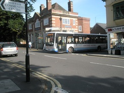 A Minsterley Motors bus turning off Beaumont Road onto Sandford Avenue