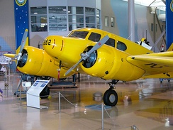 RCAF Cessna Crane as employed in the British Commonwealth Air Training Plan on display at the Canadian Warplane Heritage Museum.