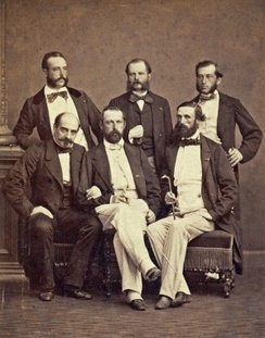 Adjutant Daniel Nordlander (upper left), with Adjutant Fritz von Dardel, Ordonnance Officer Ferdinand-Alphonse Hamelin, General Henri-Pierre Castelnau, King Charles XV of Sweden and Prince Oscar, future King Oscar II of Sweden, at the International Exposition (1867) in Paris, France