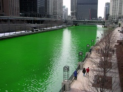 The Chicago River, dyed green for the 2005 St. Patrick's Day celebration