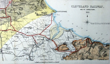 Map of the Cleveland Railway and its connections, 1863. The West Hartlepool Harbour and Railway ran north of the Tees, with a river connection to the Cleveland Railway south of the river.