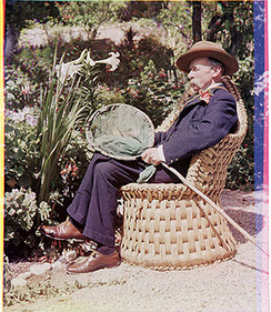 A 1903 Sanger Shepherd process[1] photograph of Col. Willoughby Verner by Sarah Angelina Acland, an English early pioneer color photographer.[2]