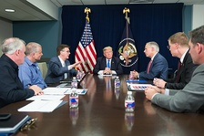 Patrick, third from left, attending an October 2017 meeting with U.S. President Donald Trump, Texas Governor Greg Abbott, and FEMA officials, on Hurricane Harvey relief and recovery efforts.
