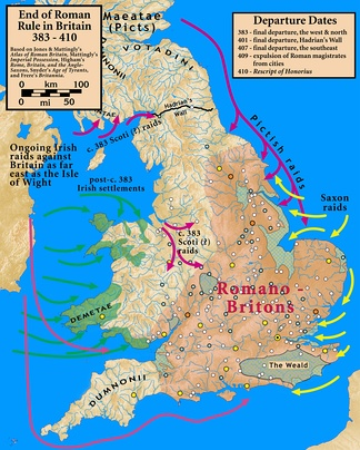 Britain at the end of Roman rule showing the Romano-British area within the lowland zone