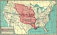 This map shows the Louisiana Purchase area, which corresponds approximately with colonial French Louisiana.