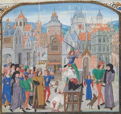 Beheadings in a painting from Froissart's Chronicles, beginning of the 15th century – the execution Guillaume Sans and his secretary on the orders of Thomas Felton