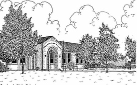 The more than 100-year-old Garland High School: This lineart graphic displays the historic front of the high school that faces South Garland Ave in the Downtown Garland District.