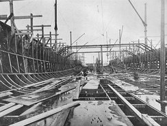 Dreadnought two days after the keel was laid. Most of lower frames are in place plus a few of the beams which will support the armoured deck.