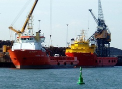 Offshore supply vessels in Hartlepool docks