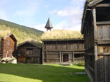 Sod roofs on 18th-century farm buildings in Heidal, Norway.
