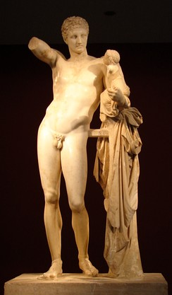 Hermes and the Infant Dionysus by Praxiteles, (Archaeological Museum of Olympia).