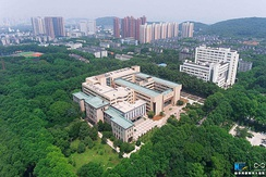 Aerial view of the library in Huazhong University of Science and Technology, which has a 72% campus green rate